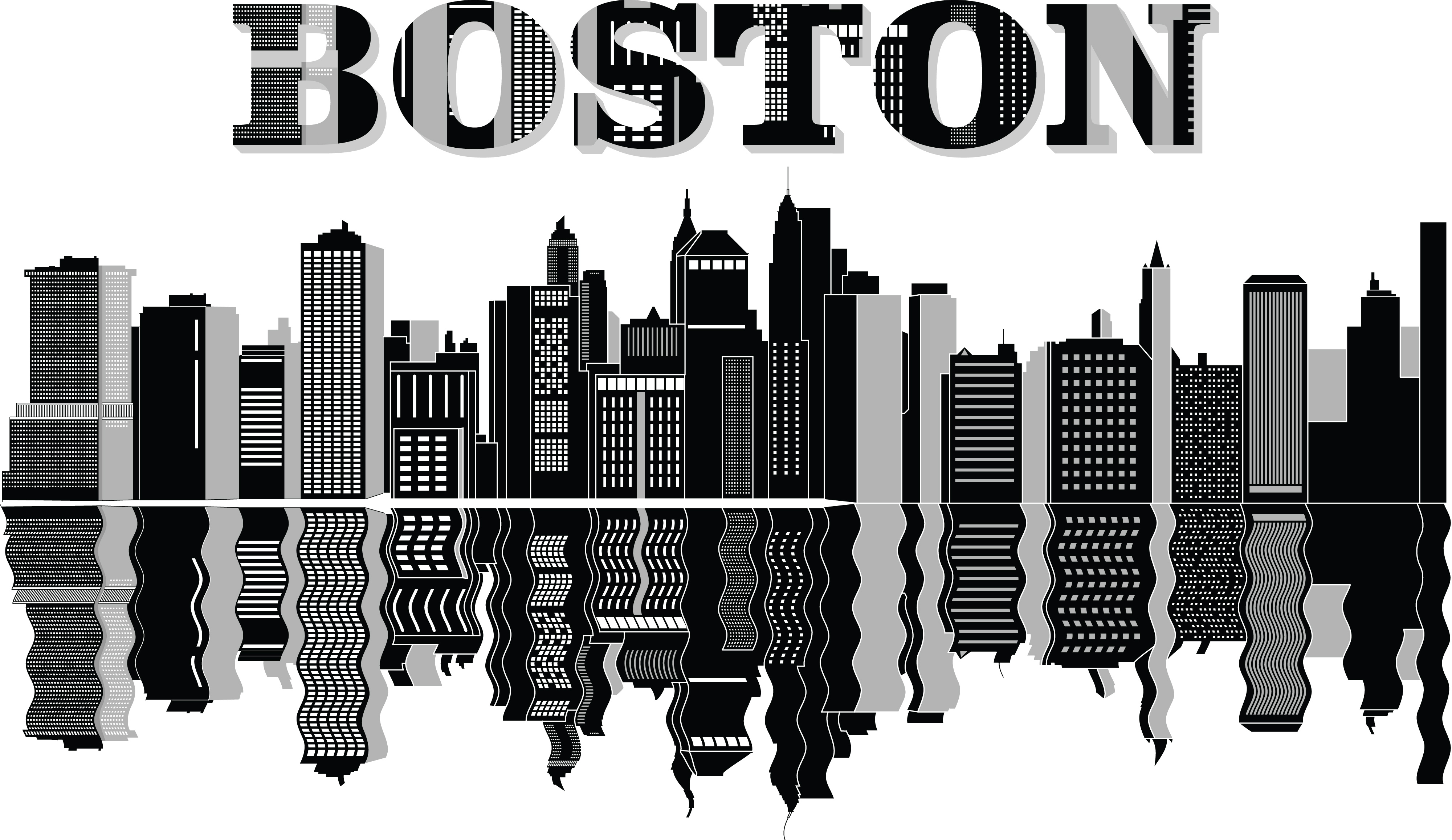 Free Clipart Of A reflecting boston city skyline.