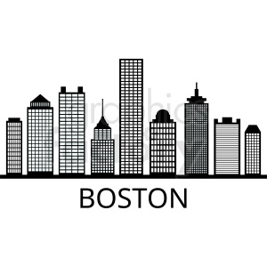 boston city skyline outline vector clipart. Royalty.