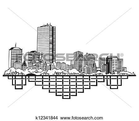 Clipart of Boston, MA Skyline k12341844.