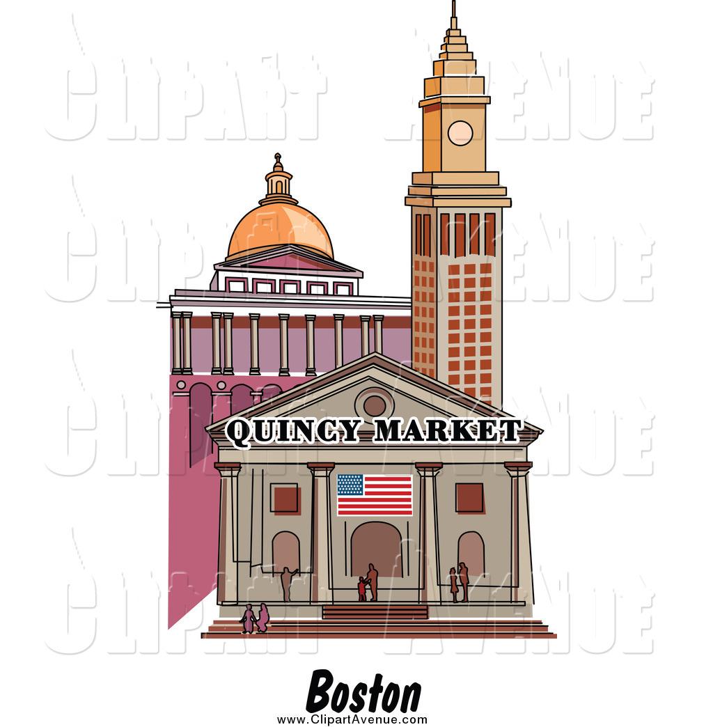 Avenue Clipart of a Boston Massachusetts City Scene and Quincy.