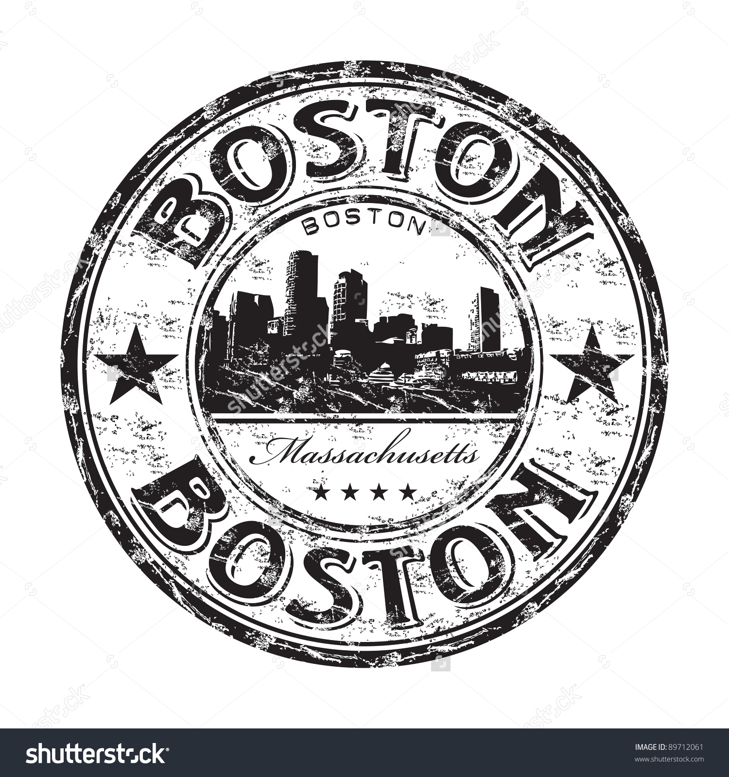Black Grunge Rubber Stamp Name Boston Stock Vector 89712061.