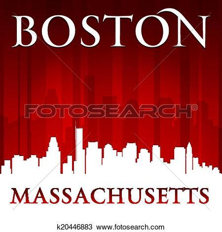 Clipart of Boston Massachusetts city skyline silhouette red.