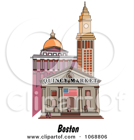 Clipart Boston Massachusetts City Scene At Quincy Market.