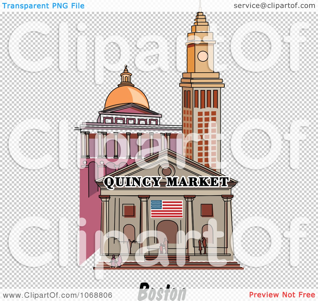 Clipart Boston Massachusetts City Scene At Quincy Market.
