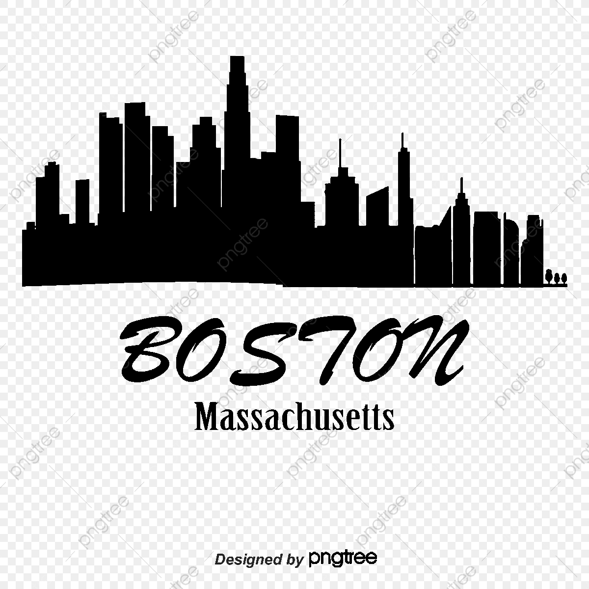 Boston, City Silhouette, City, High Rise PNG and Vector with.