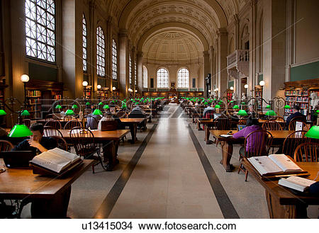 Stock Photo of Reading area of Boston Public Library, McKim.