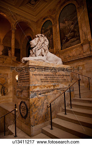 Picture of Lion on staircase of Boston Public Library u13411217.