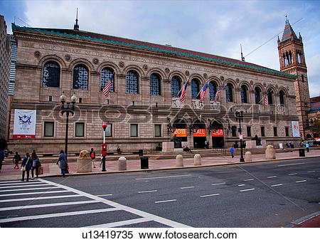 Stock Image of Exterior view of Boston Public Library, McKim.