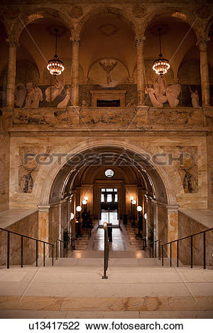 Stock Photo of Interior view of Boston Public Library, McKim.