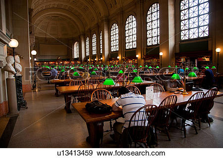 Stock Photograph of Reading area of Boston Public Library, McKim.