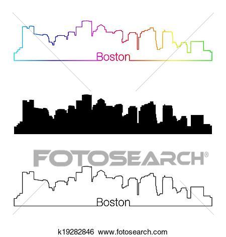Boston skyline linear style with rainbow Clip Art.