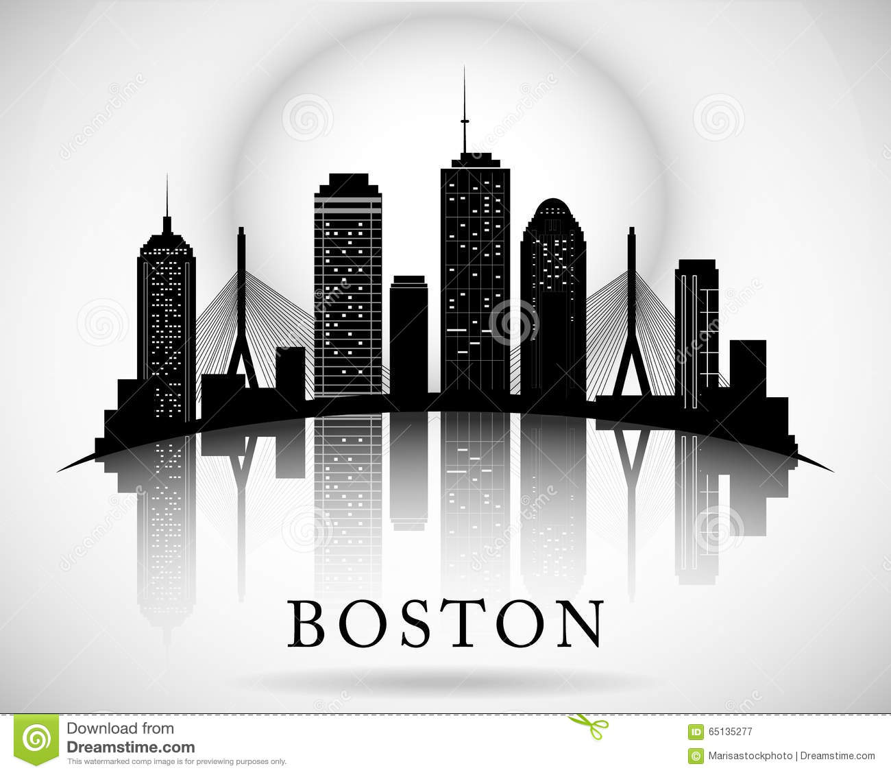 Boston Skyline Stock Illustrations.