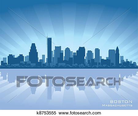 Boston skyline Clipart.