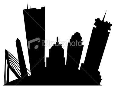 A cartoon skyline silhouette of the city of Boston, USA..