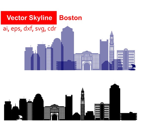 Boston city SVG, Massachusetts Vector Skyline Boston silhouette, Svg Dxf  Eps Ai Cdr, Skyline Clipart Boston skyline USA Skyline Landmarks.