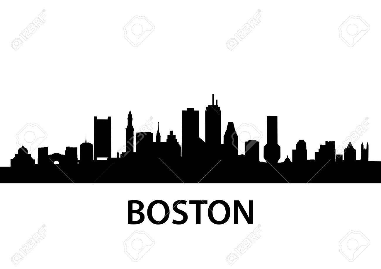 detailed silhouette of Boston, Massachusetts.
