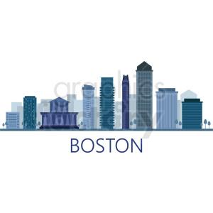 boston city skyline vector clipart. Royalty.