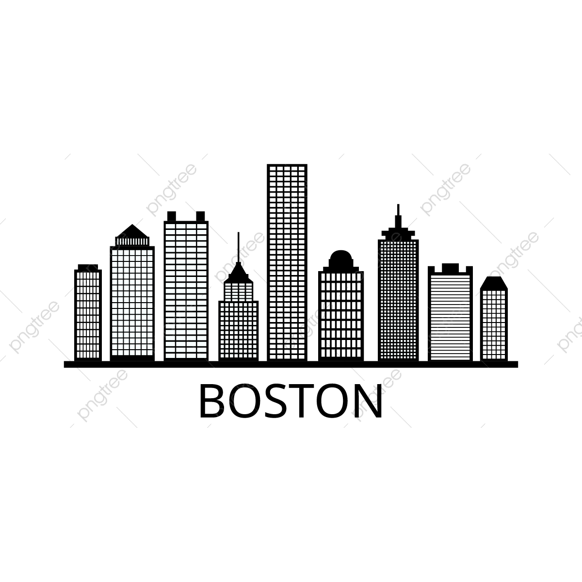 Boston Skyline, Skyline, United States, Modern PNG and Vector with.
