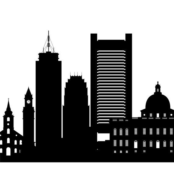 Boston Skyline Black White.