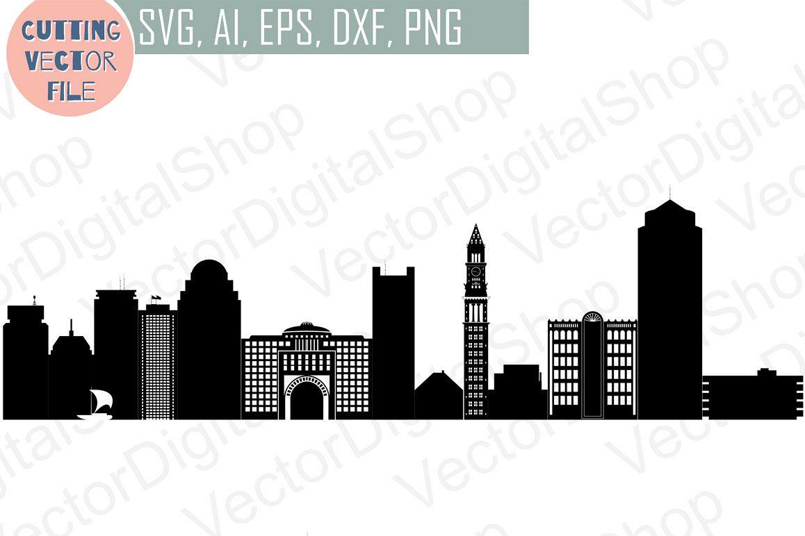 Boston Skyline Vector, Massachusetts USA city, SVG, JPG, PNG, DWG.