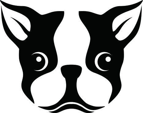 Boston Terrier Silhouette Stencil Clipart.