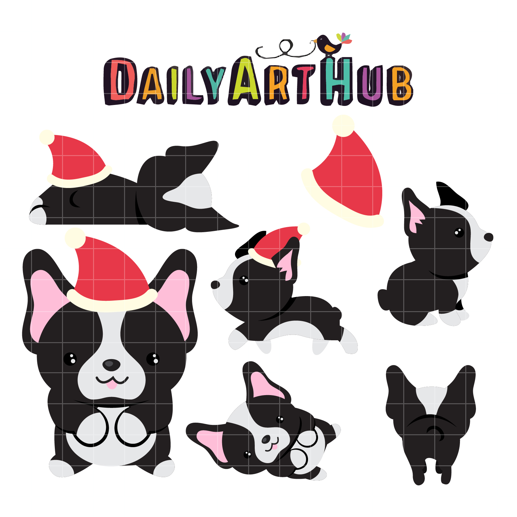 Xmas Boston Terrier Clip Art Set.