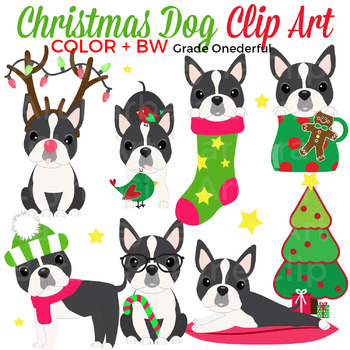 Christmas Dog Clip Art, Boston Terriers, 28 Images, Color and Black White.