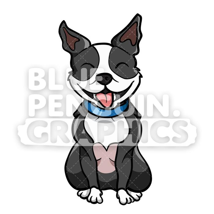 Boston Terrier Sitting Vector Cartoon Clipart Illustration.