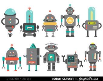 Cute robot clipart.
