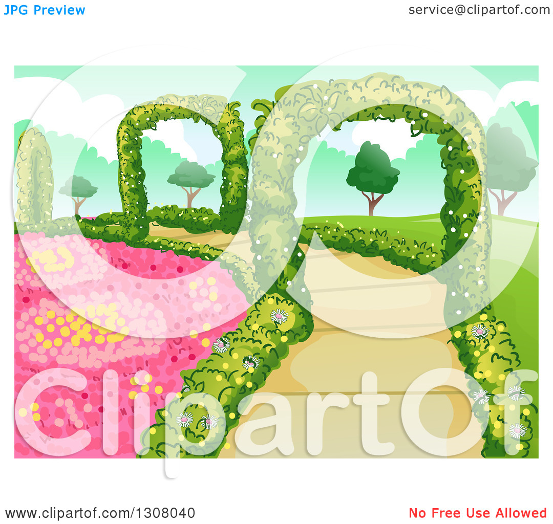 Clipart of a Botanical Garden with Flowers, Shrubs and Hedge.