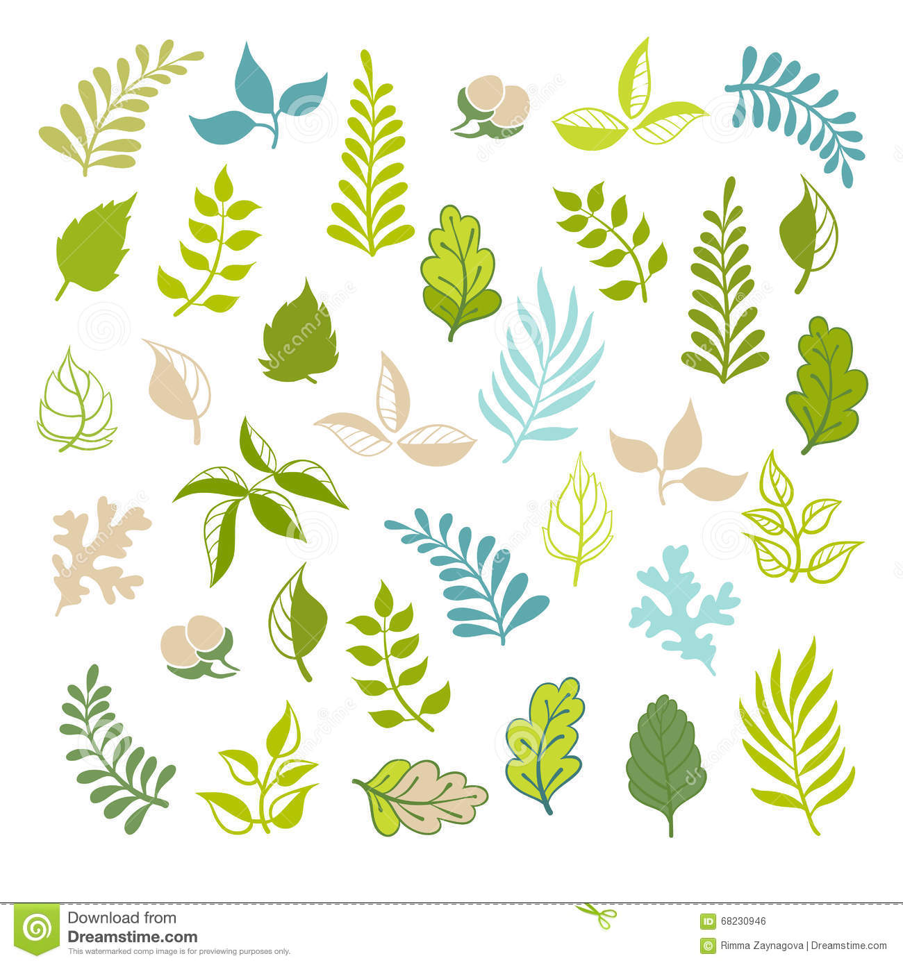 Leaves Vector Set. Botanical Garden Elements On White Background.