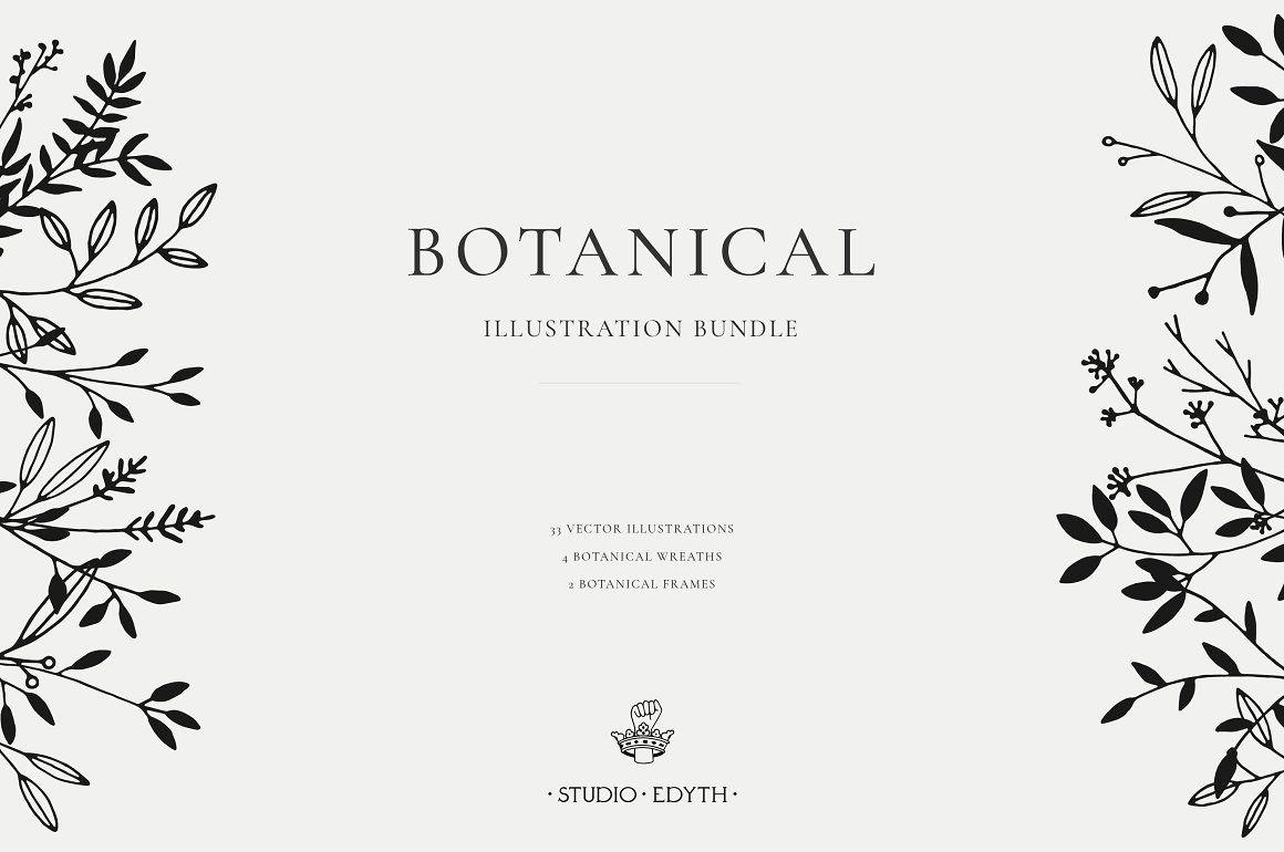 Elegant botanical illustration wedding clipart download.