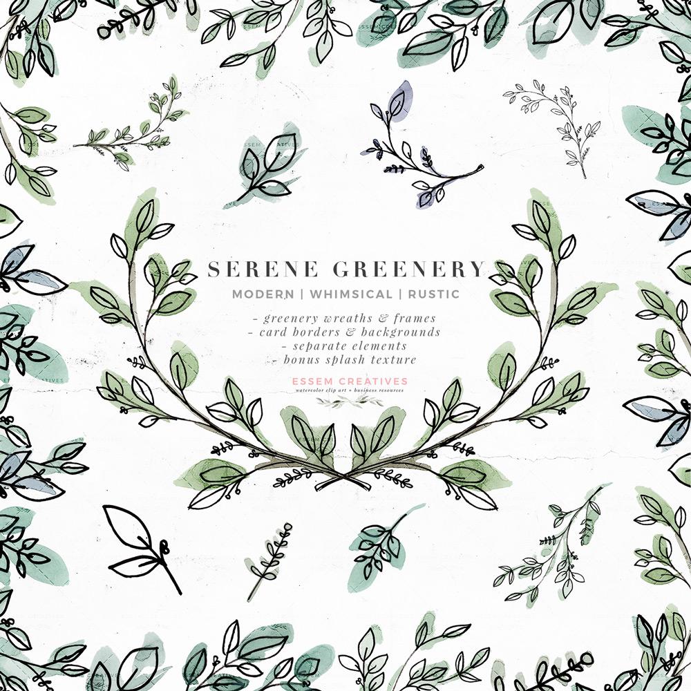 Serene Greenery Watercolor Leaves Clipart, Rustic Botanical Line Art Wreath  Drawings, Green Leaf Logo Branding Wedding Invitations.