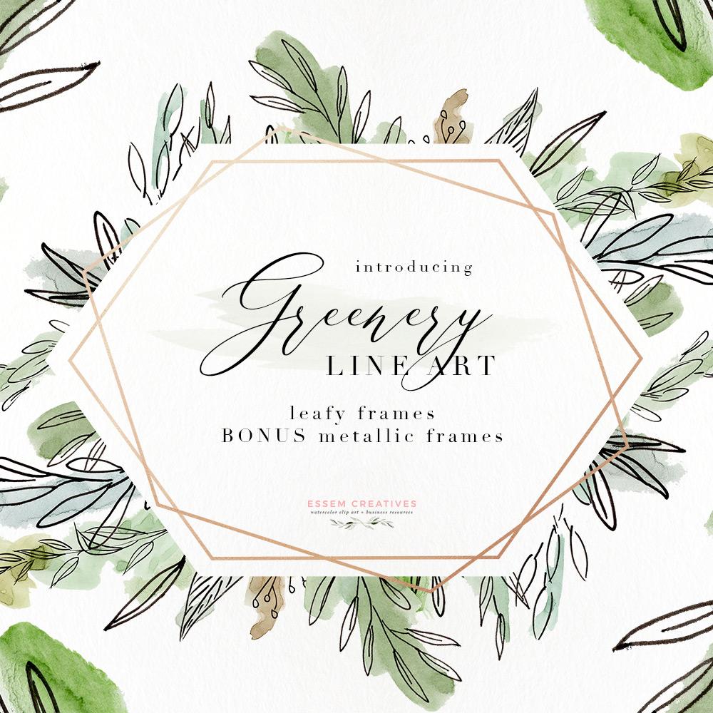 Watercolor Greenery Line Art PNG Clipart, Tropical Rustic Botanical Wedding  Invitation Logo Branding.
