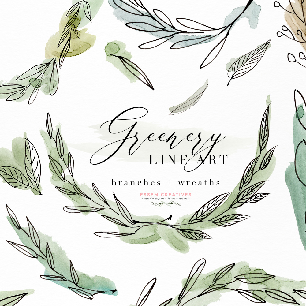 Greenery Line Art Watercolor Clipart, Olive Eucalyptus Branches, Tropical  Fine Art Botanical Ink Graphics with Watercolor Splashes.