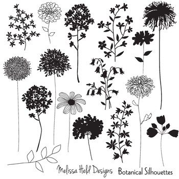 Botanical Silhouettes Clipart.