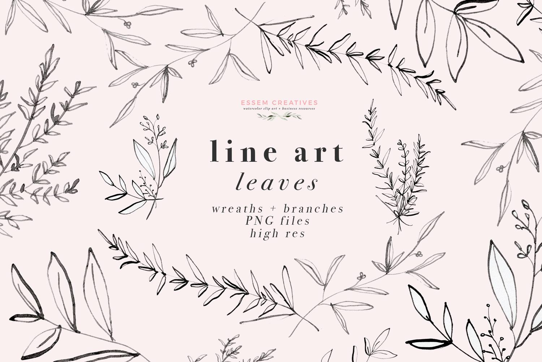 Line Art Leaves Clipart, Botanical Print Illustration, Greenery Eucalyptus  Rosemary Herbs Graphics.