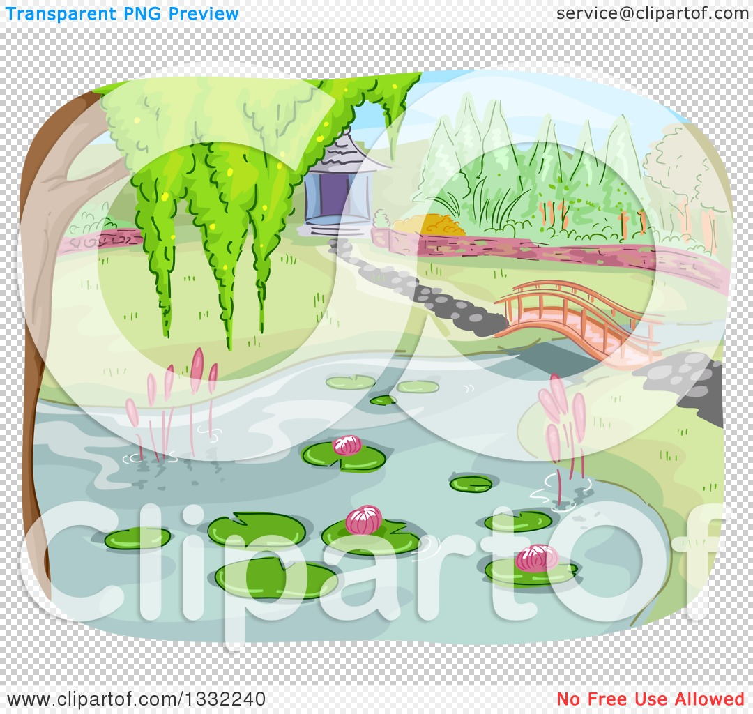 Clipart of a Pond and Foot Bridge in a Botanical Garden.