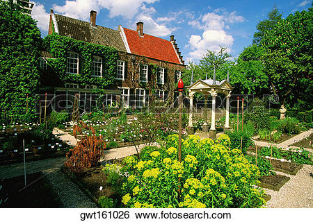 Stock Images of Garden in front of a building, Botanical Garden.