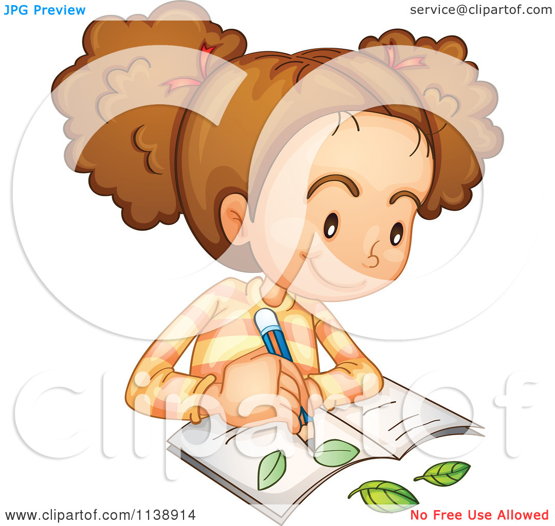 Cartoon Of A Botanist Girl Studying Leaves.