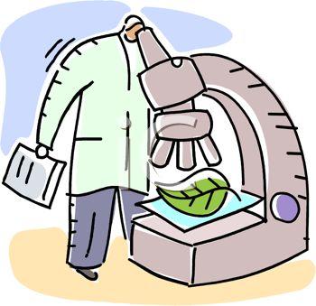 Botanist looking through a huge, cartoon microscope.
