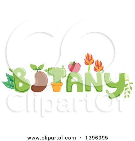 Clipart of the Word Botany with Plants, Fruit and a Bean.