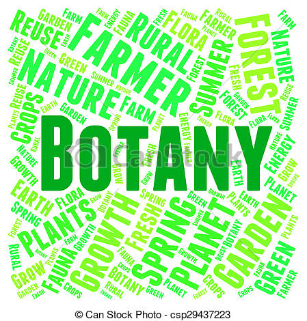 Clip Art of Botany Word Indicates Plant Life And Botanist.