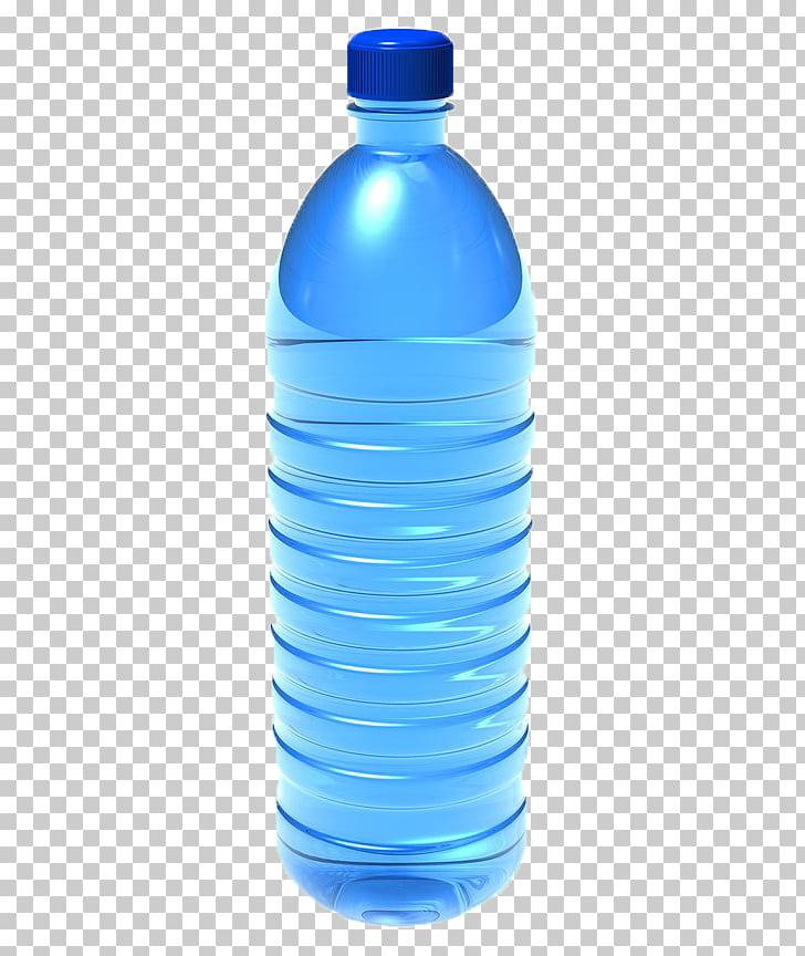 Botella de agua azul, botella de agua botella de plástico.