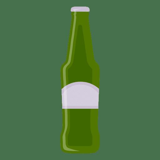 Botella de cerveza verde.