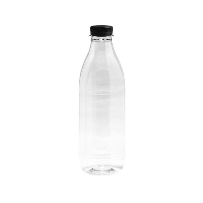Botella reutilizable plastico tranparente 1L con tapón rosca G20109.