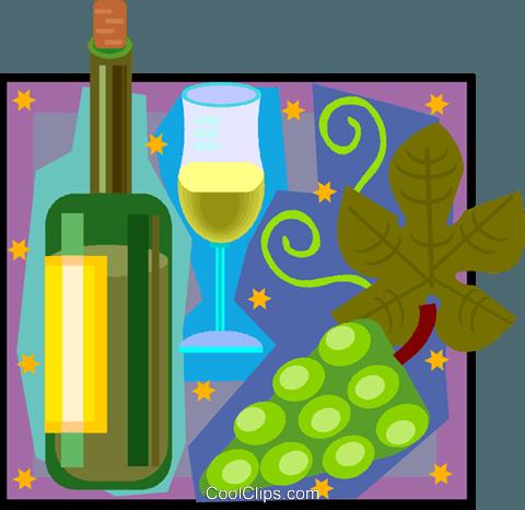 vino, botella, vidrio, uvas libres de derechos ilustraciones.