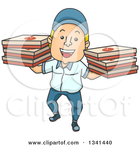 Clipart of a Food Delivery Man on a Motorcycle in a City.