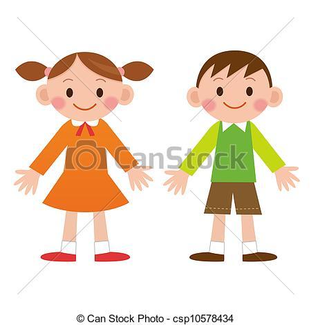 Drawings of Cute cartoon boy and girl. Both csp10578434.