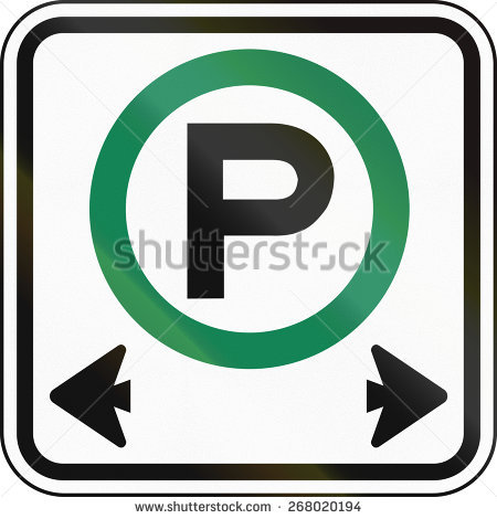 Canadian Road Sign: Parking Permitted In Both Directions Stock.